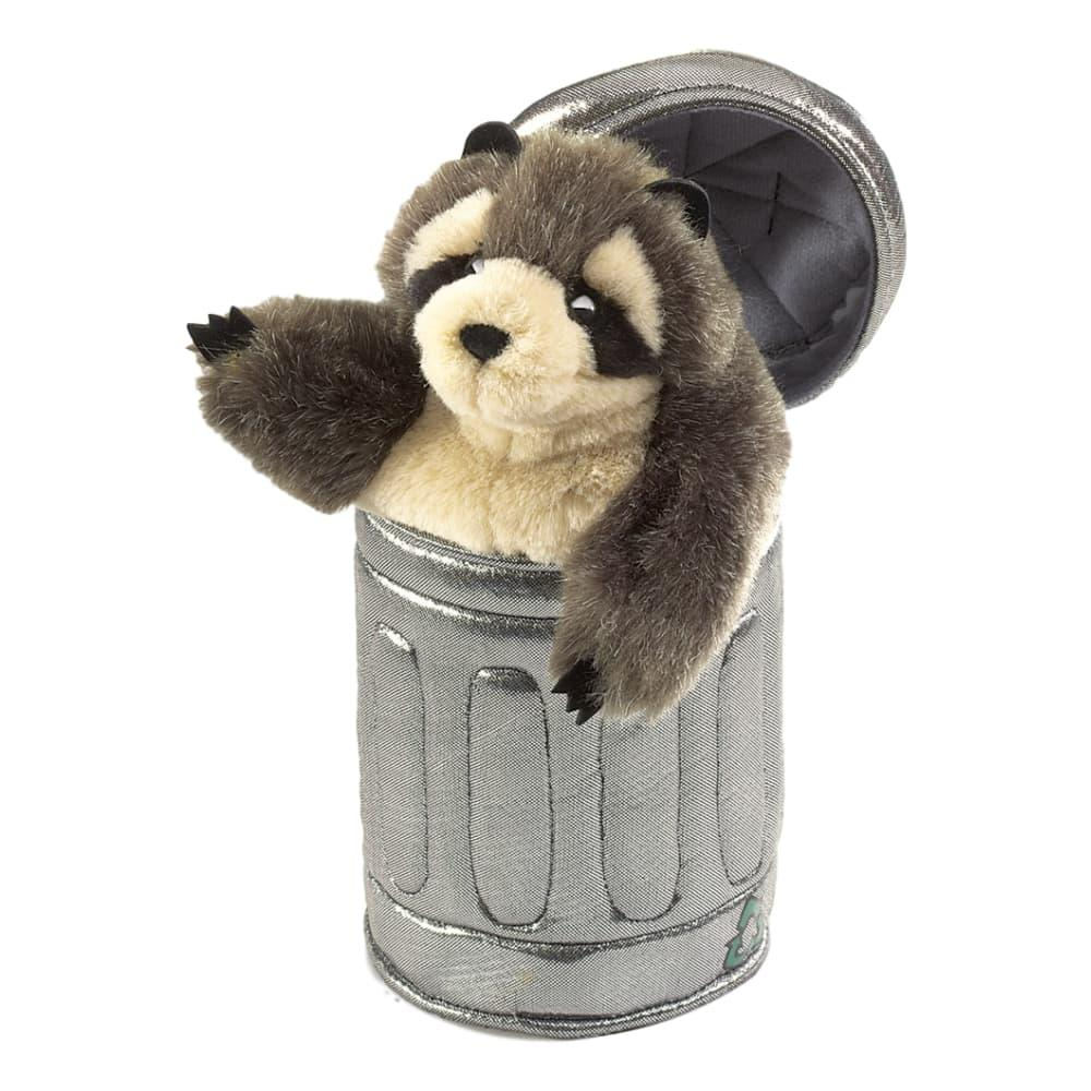 Folkmanis Raccoon In A Garbage Can Hand Puppet