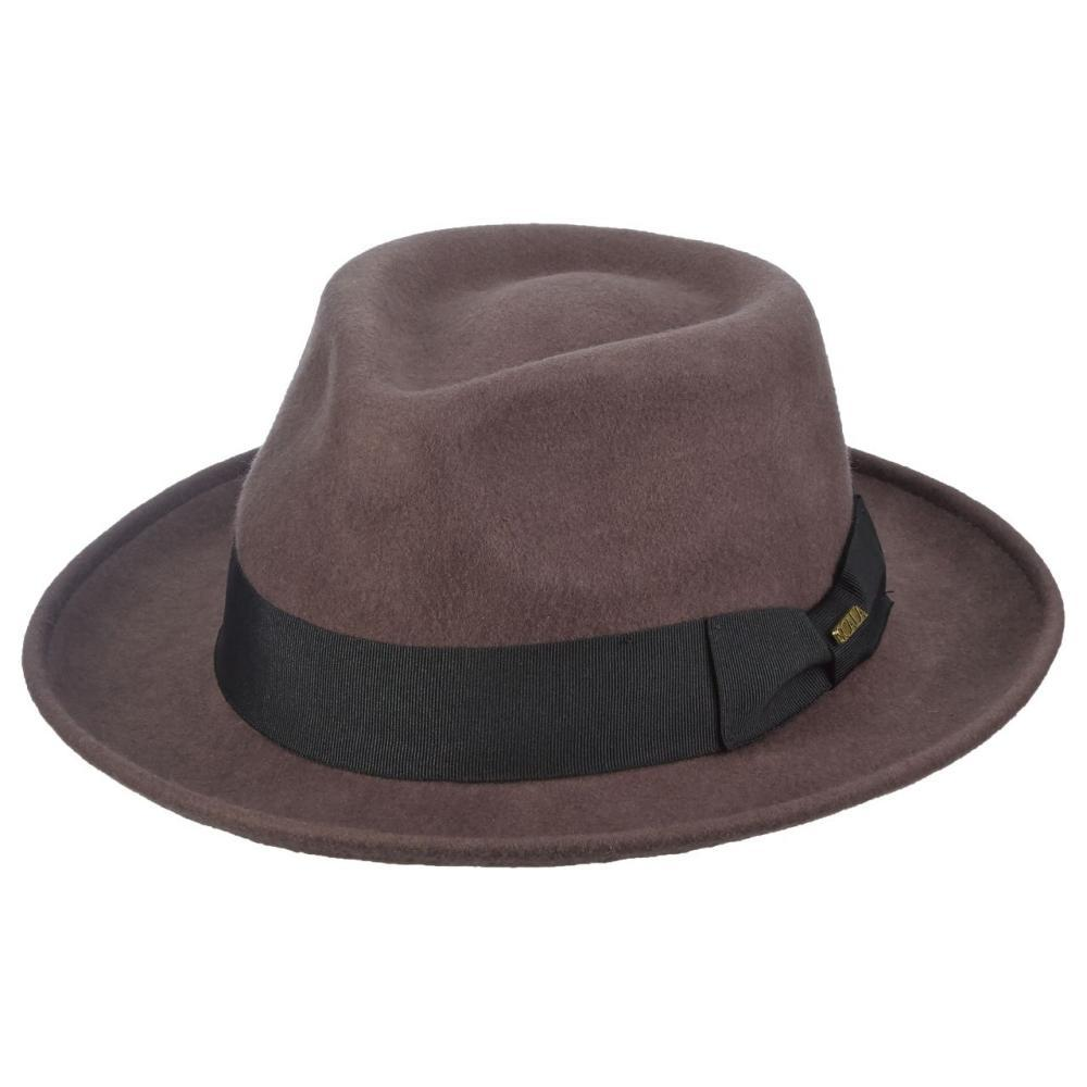 Dorfman Pacific Men's Wool Felt Fedora CHOCOLATE