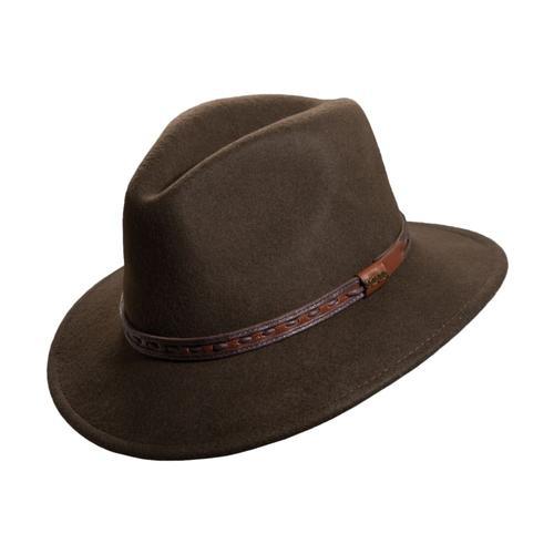 Dorfman Pacific Men's Wool Felt Richmond Fedora - Leather Band Olive