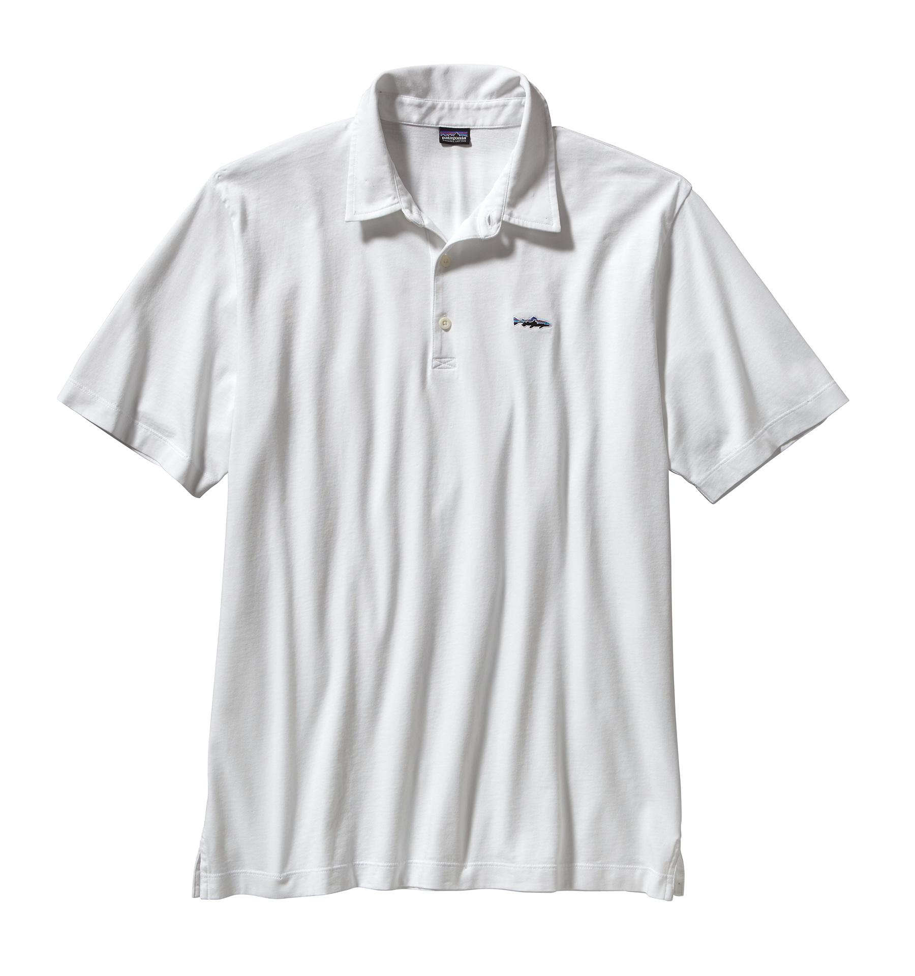 Patagonia Men's Polo Trout Fitz Roy Shirt WHI_WHITE