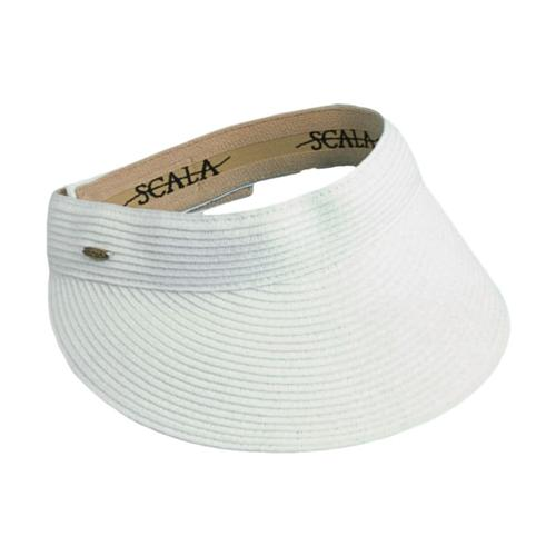 Dorfman Pacific Women's Paper Braid Visor White