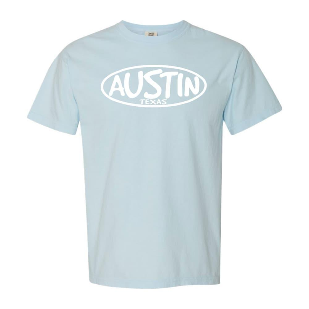 Outhouse Designs Unisex Keep Austin Weird Washed Cotton T-Shirt CHAMBRAY