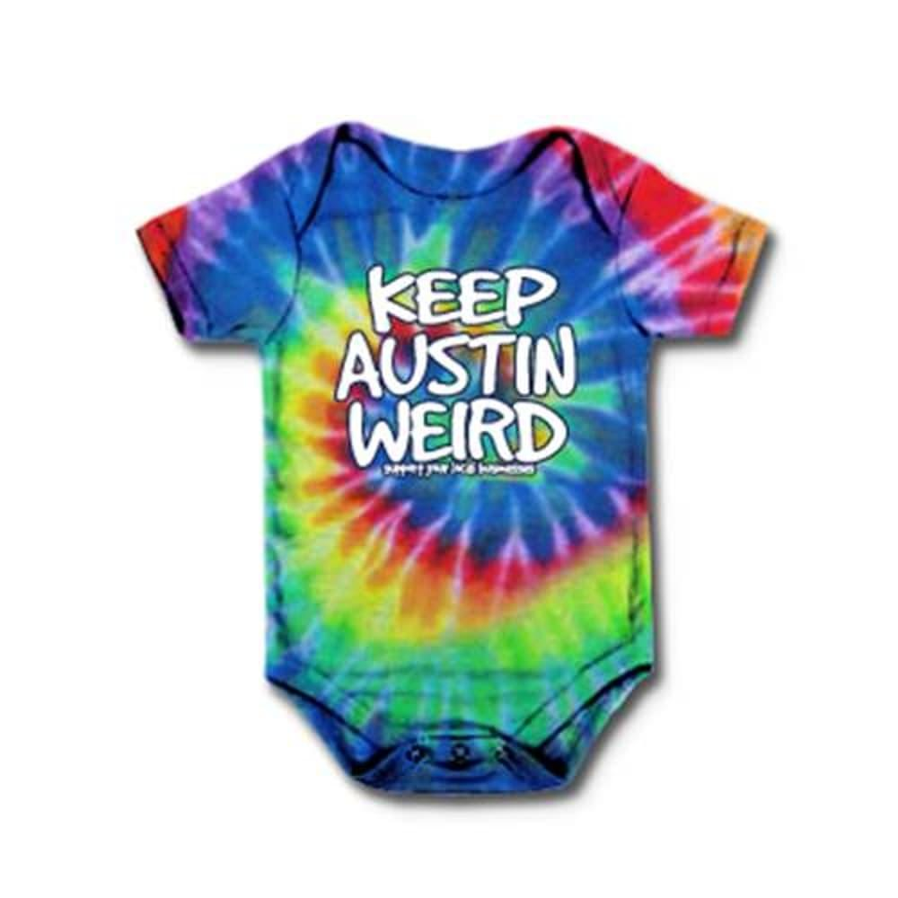 Outhouse Designs Infant Keep Austin Weird Tie Dye Onesie TIEDYE