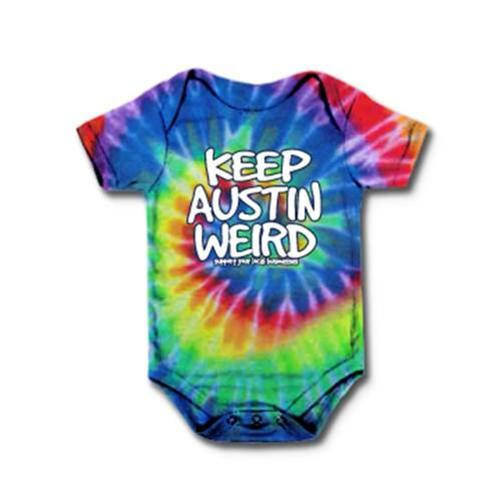 Outhouse Designs Infant Keep Austin Weird Tie Dye Onesie Tiedye