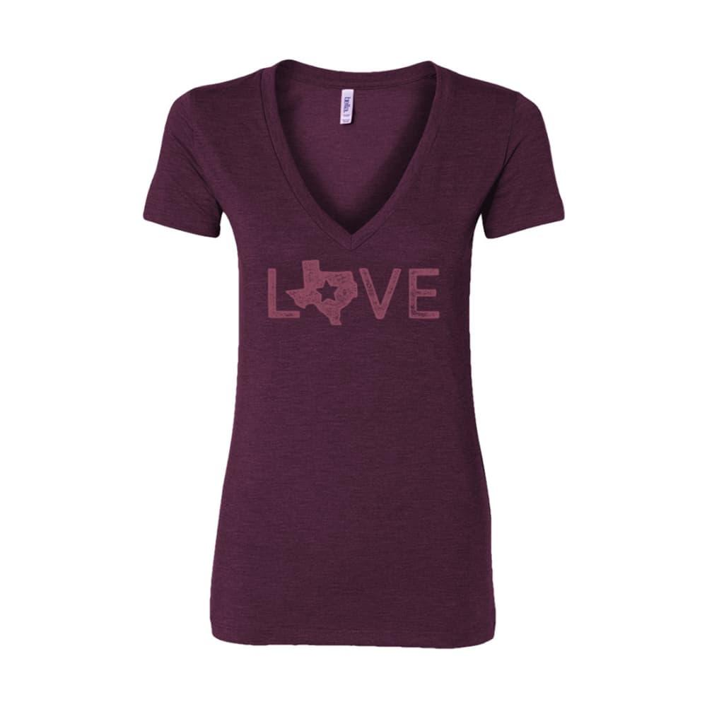 Outhouse Designs Women's Texas Love V-Neck Shirt AMETHYST