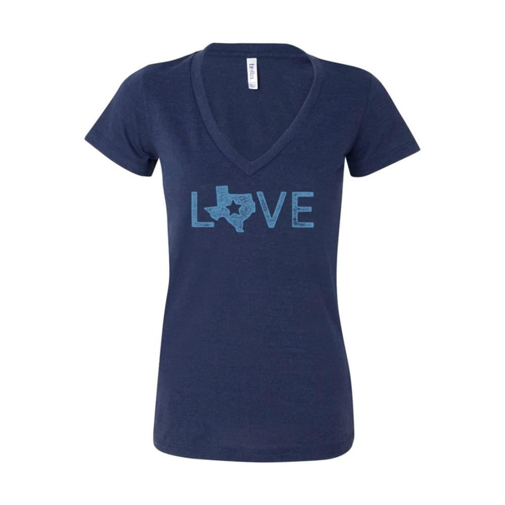 Outhouse Designs Women's Texas Love V-Neck Shirt NAVY