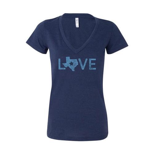 Outhouse Designs Women's Texas Love V-Neck Shirt Navy