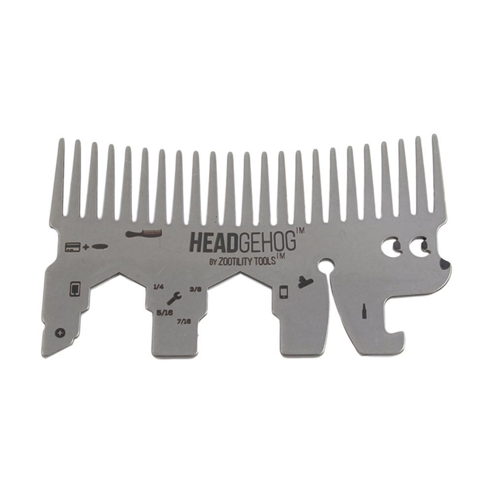 Zootility Headgehog Wallet Comb Utility Tool STAINLESS