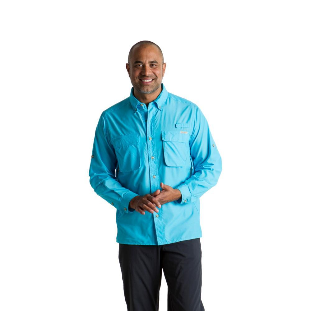 ExOfficio Men's Air Strip Long Sleeve Shirt RIVERBLUE