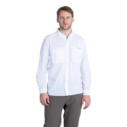 ExOfficio Men's Air Strip Long Sleeve Shirt White