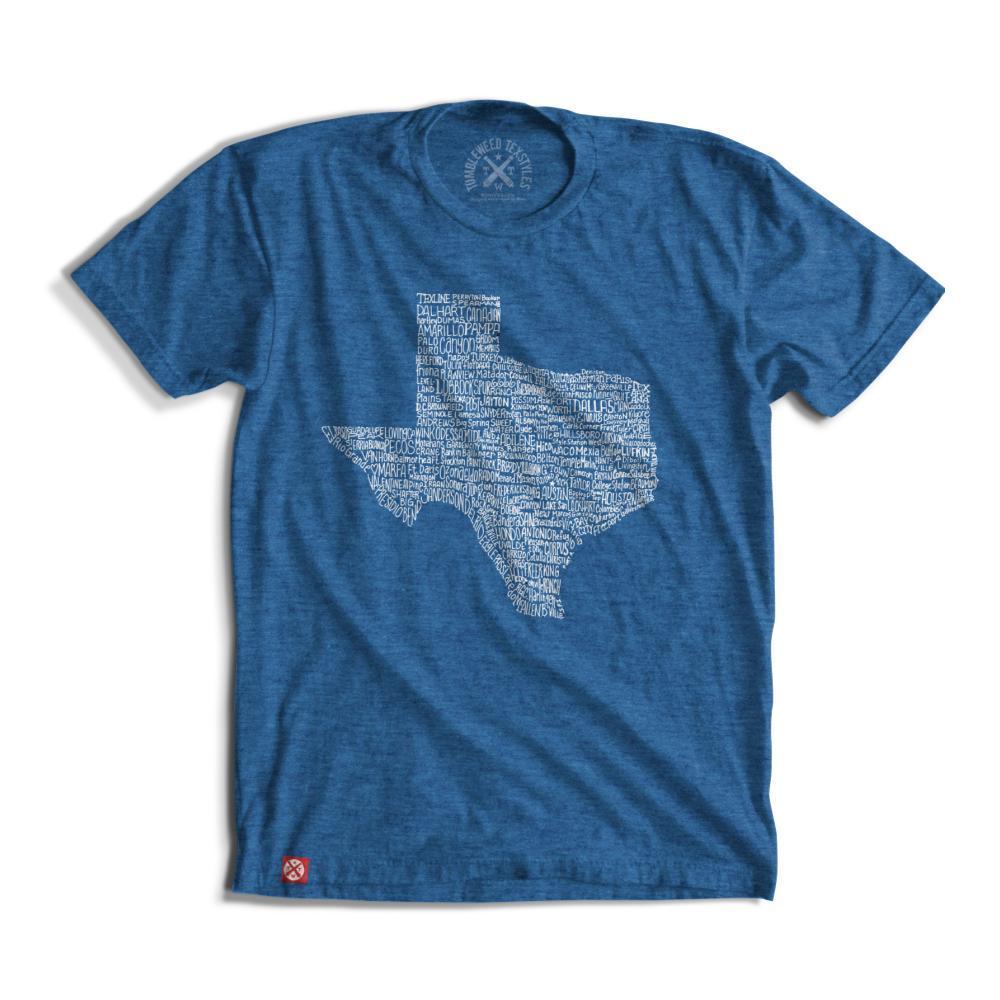 Tumbleweed TexStyles Unisex Texas Towns T-Shirt ROYALBLUE