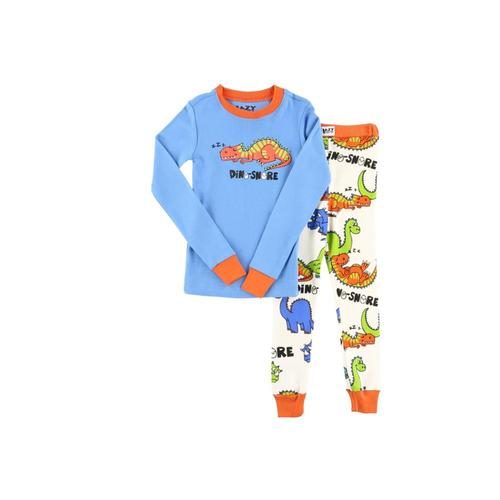 Lazy One Kids Dino-Snore Long Sleeve PJ Set Blue_wht