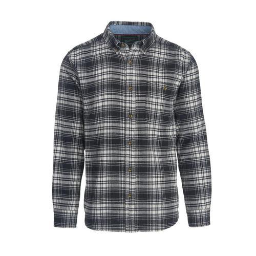 Woolrich Men's Trout Run Plaid Flannel Shirt Blkhunt