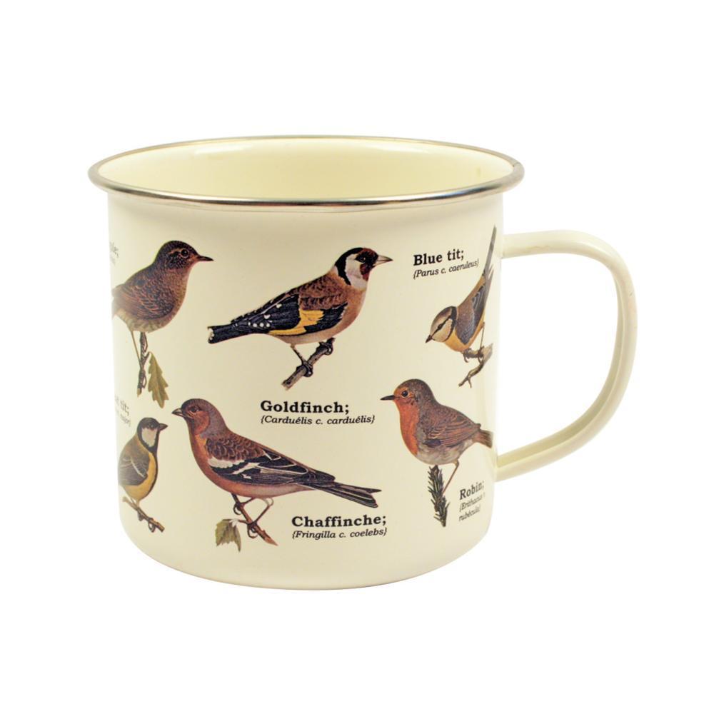Gift Republic Garden Birds Enamel Mug PALE