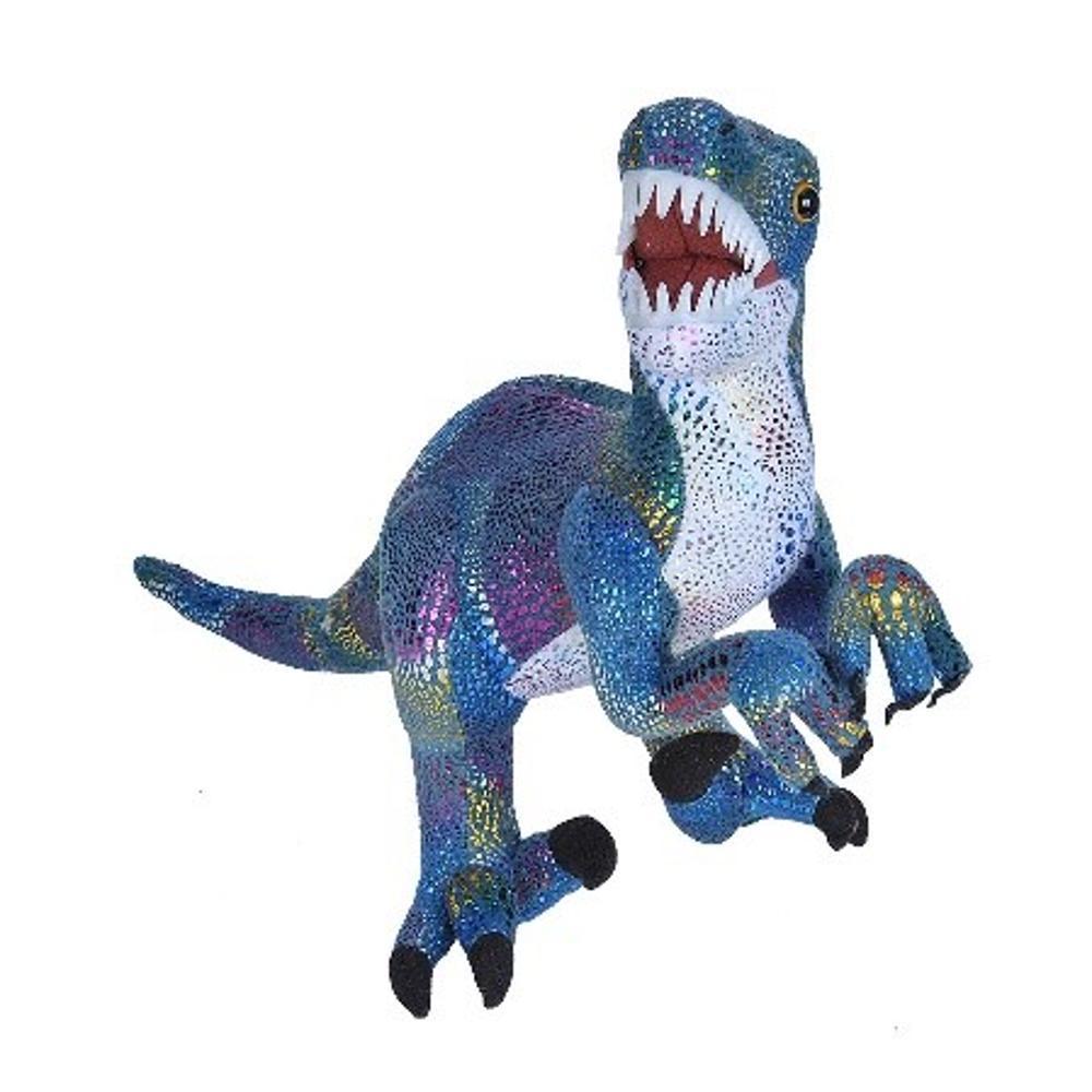 Wild Republic 18in Glitter Velociraptor Dinosaur Stufffed Animal With Teeth IRIDESCENTBLUE