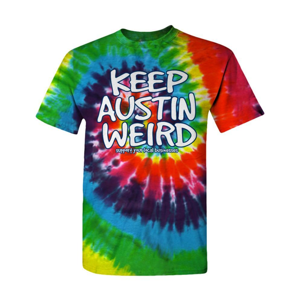 Outhouse Designs Unisex Keep Austin Weird Tie Dye T-Shirt TIEDYE