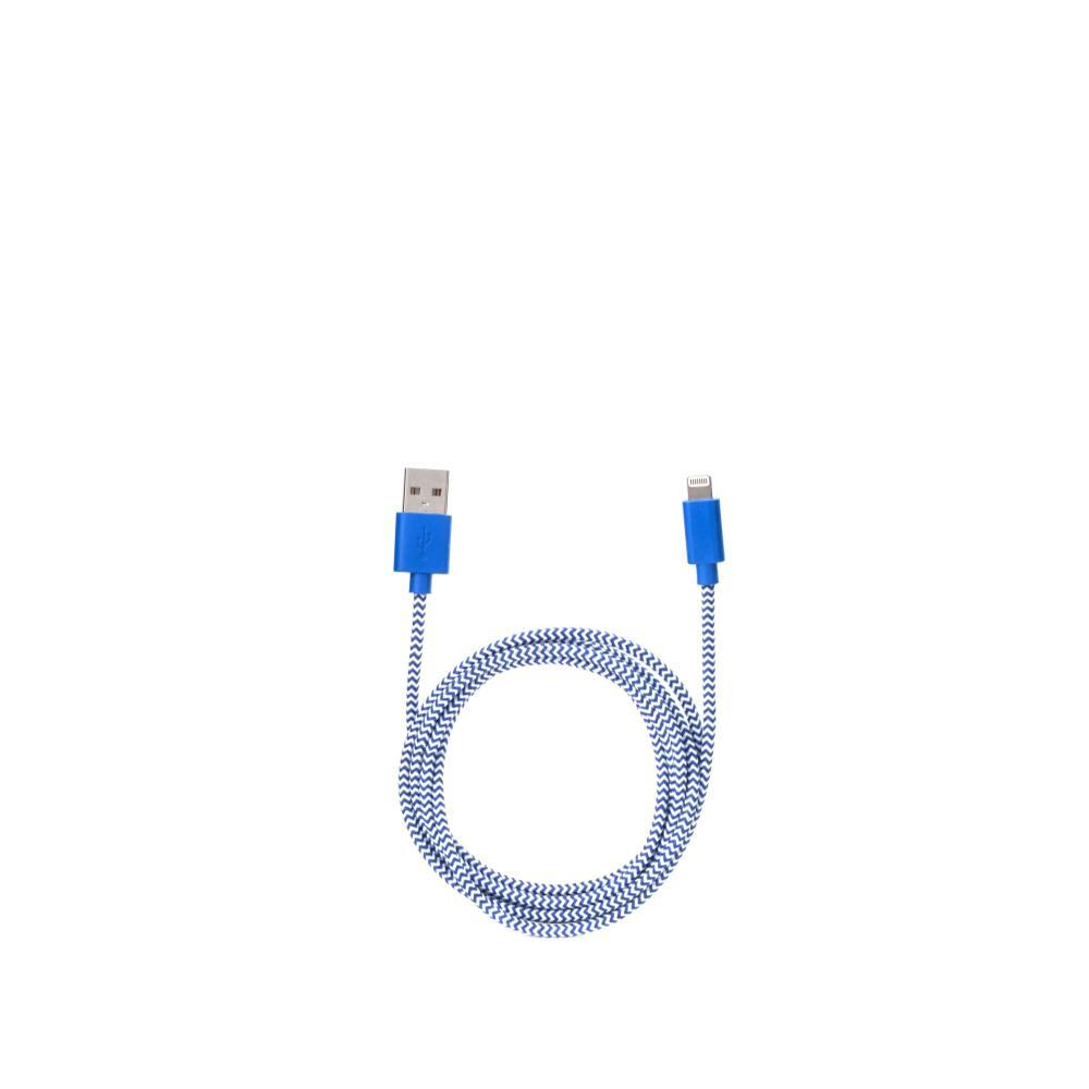 Kikkerland Design Iphone Lightning Blue Cotton Braided Charging Cable