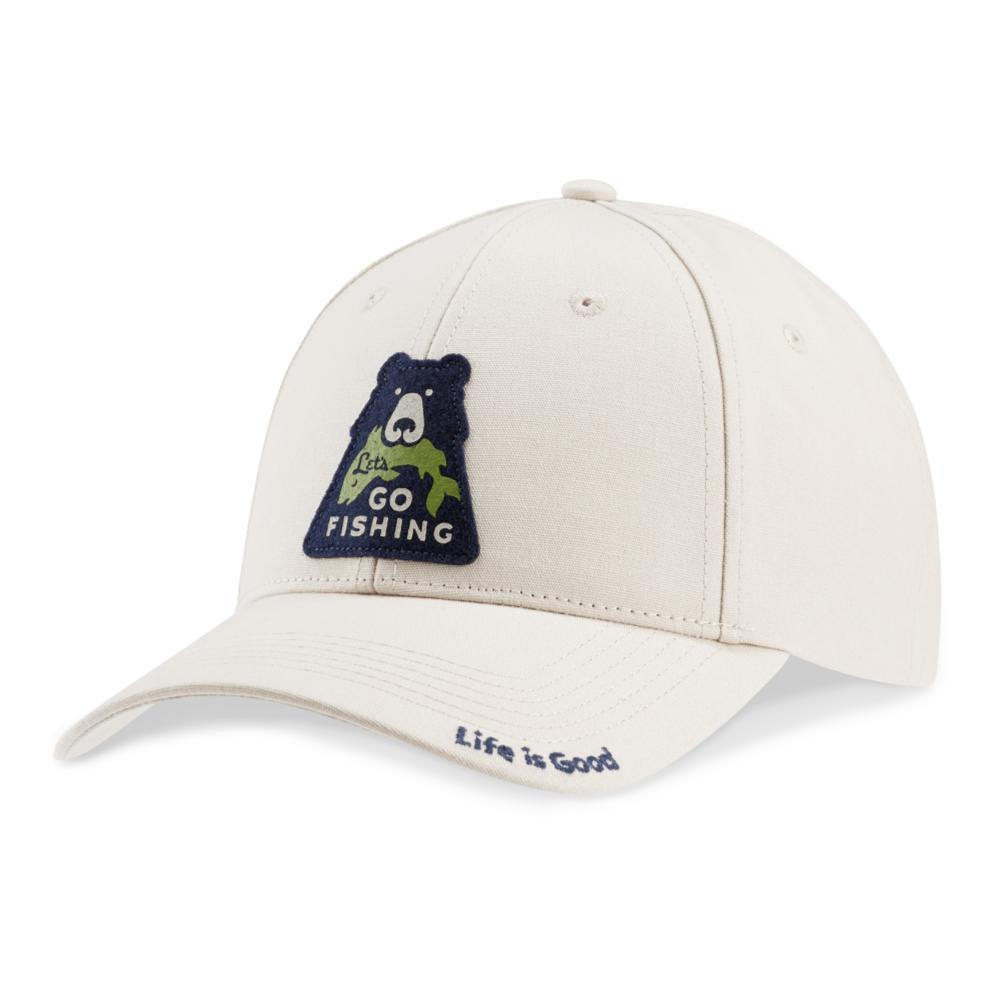 Life is Good Go Fish Bear High Rise Chill Cap BONE