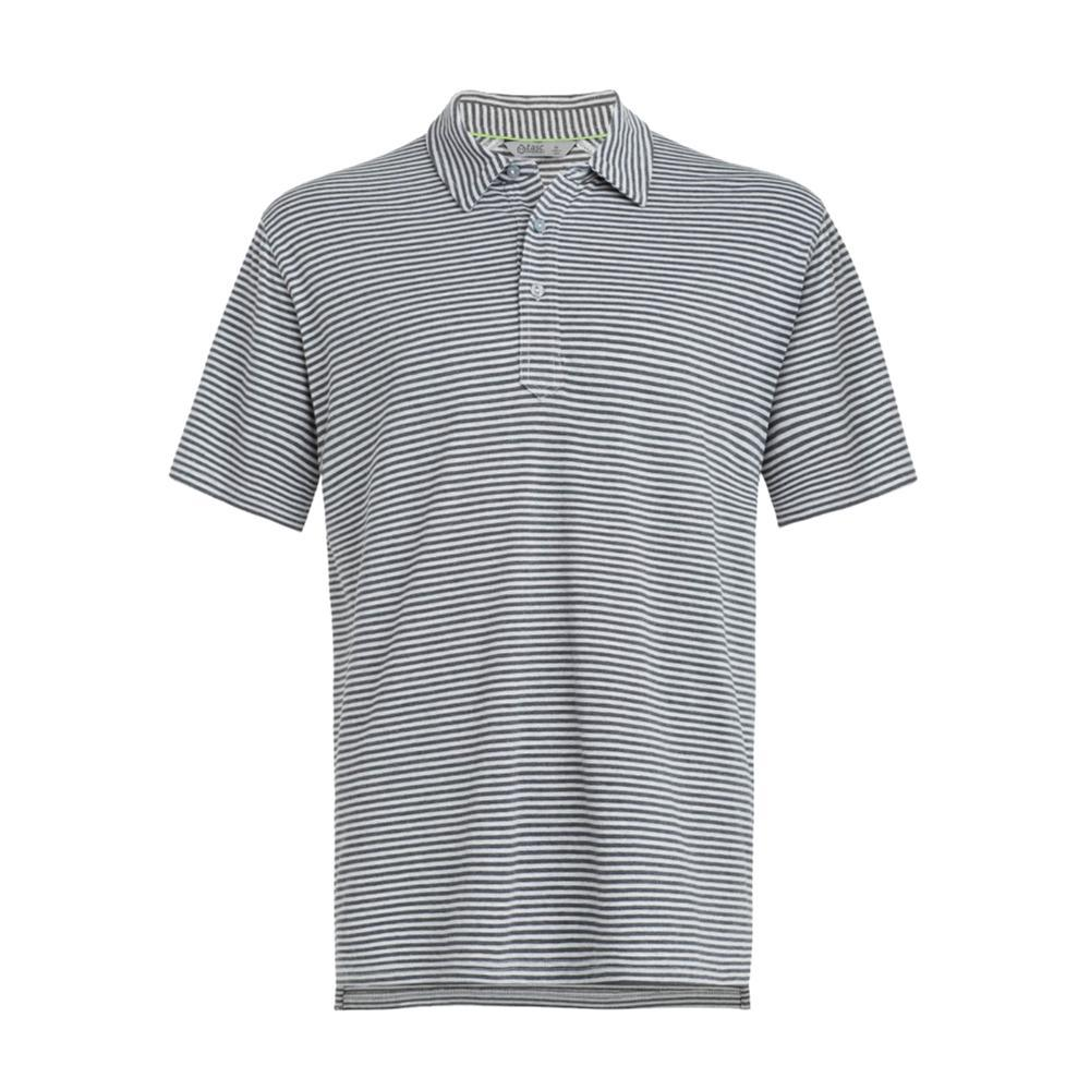 tasc Men's Air Stretch Stripe Polo Shirt BLKHTR/LTGRYHTR