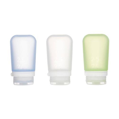 humangear GoToob+ 2.5oz Silicone Bottle - 3-Pack Clr.Grn.Blu