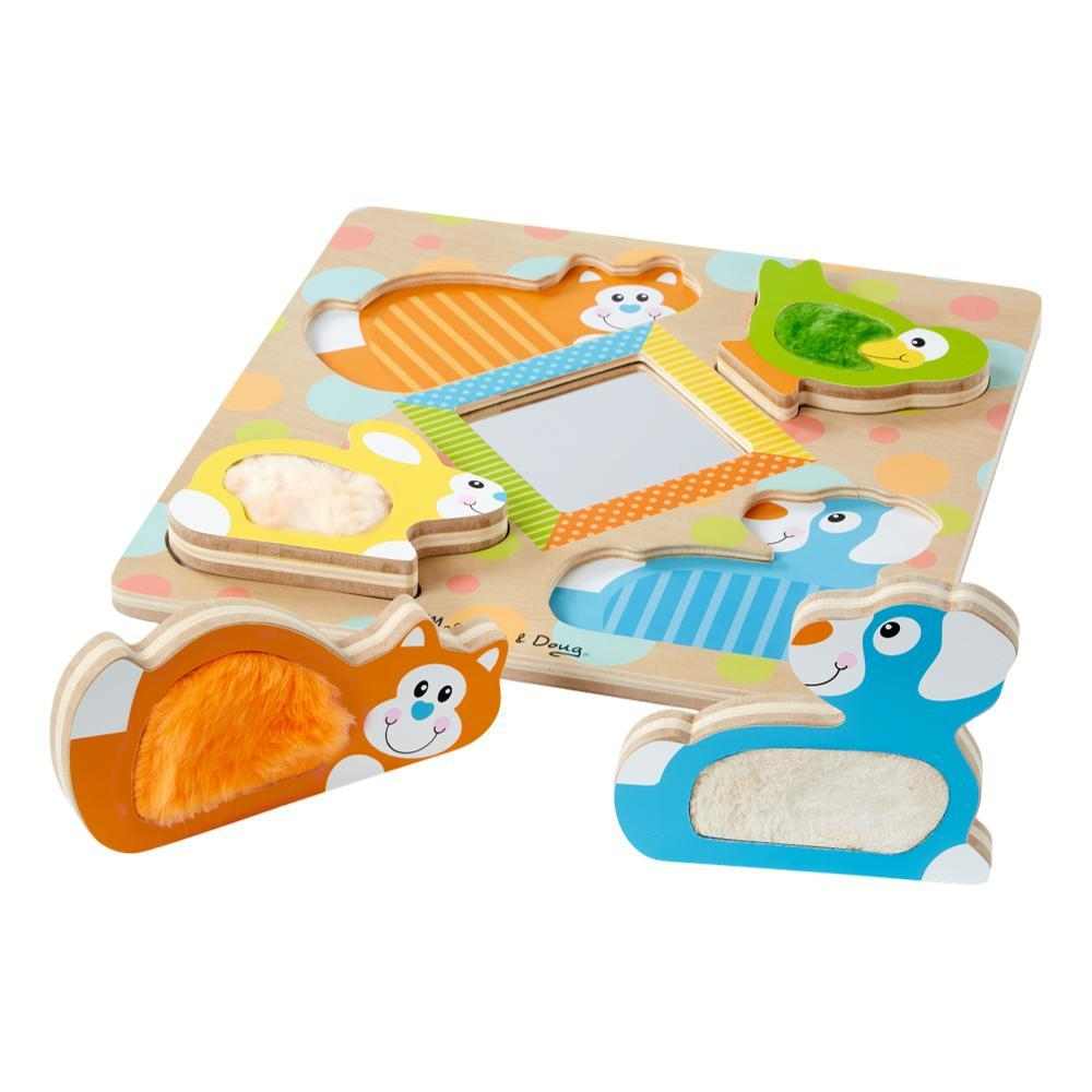 Melissa & Doug First Play Wooden Touch And Feel Puzzle Peek- A- Boo Pets With Mirror