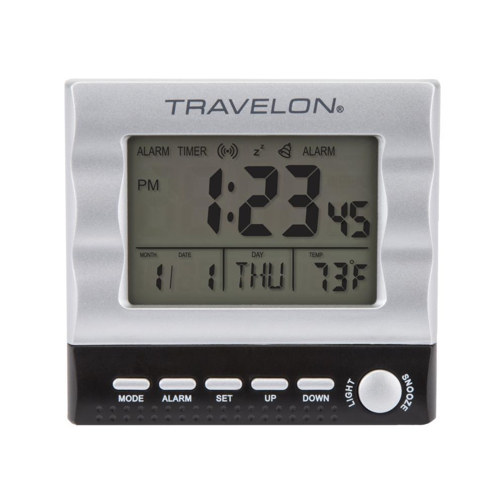 Travelon Large Display Travel Alarm Clock SILVER