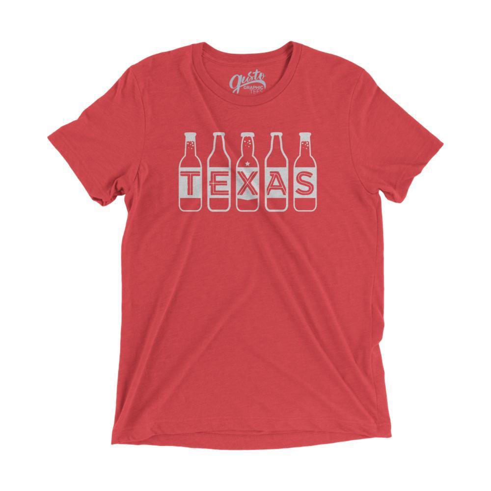 Gusto Tees Unisex Texas Beer Bottle T-Shirt RED_3413