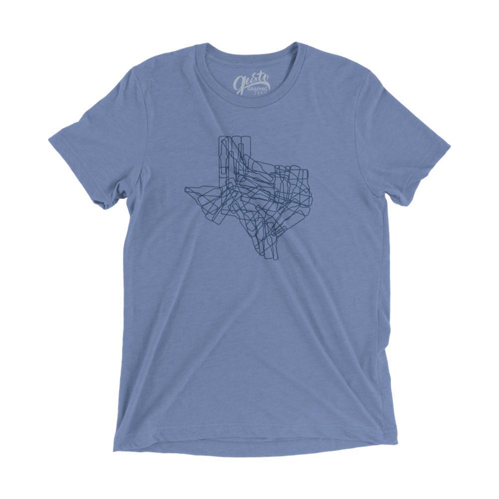 Gusto Tees Unisex Texas Bottle State T-Shirt BLUE_3413