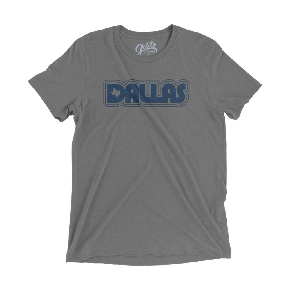 Gusto Tees Unisex Retro Dallas T-Shirt GRAYTRI