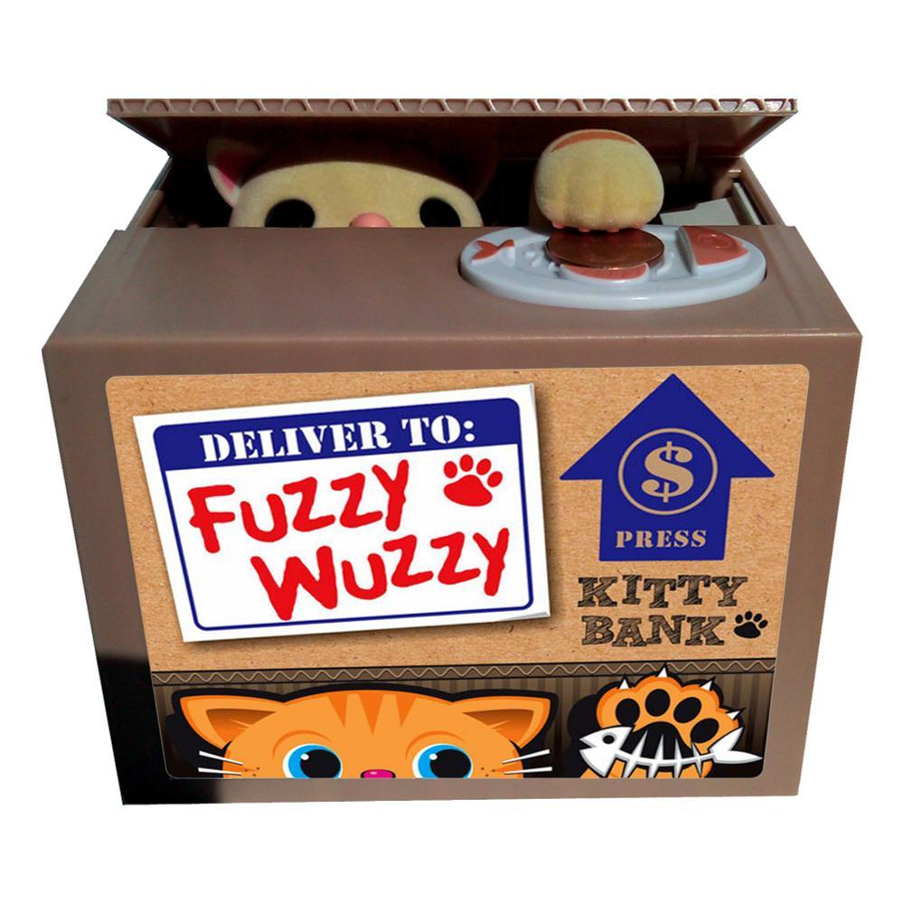 Leading Edge Fuzzy Wuzzy Kitty Coin Bank YELLOW