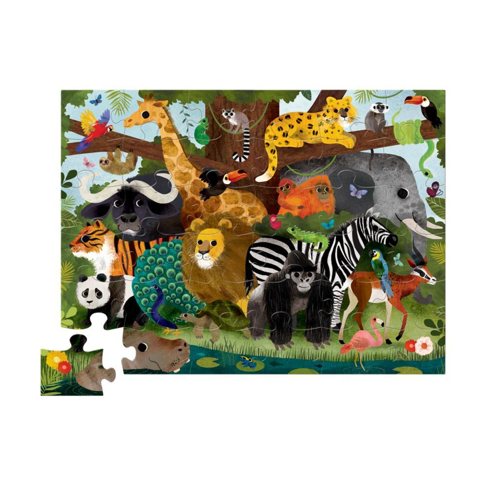 Crocodile Creek Jungle Friends Shaped Jigsaw Puzzle - 36pc