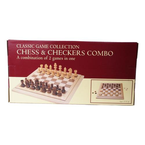 John N. Hansen Classic Wood Chess/Checkers Combo Set