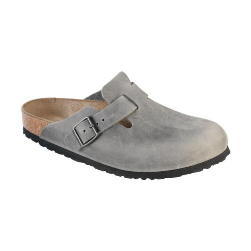 Birkenstock Men's Boston Soft Footbed Oiled Leather Clogs Iron