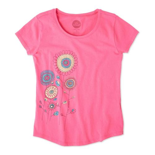 Life is Good Girls Playful Flowers Smiling Smooth Tee Fiestapnk
