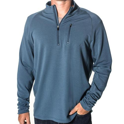 Free Fly Men's Bamboo Fleece Quarter Zip Pullover Stormblue