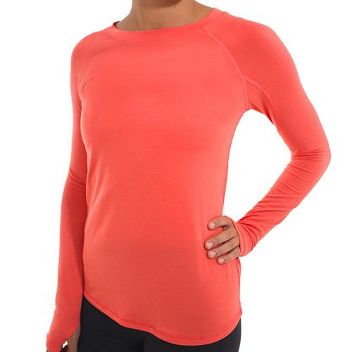 Free Fly Women's Bamboo Midweight Long Sleeve Tee Coral