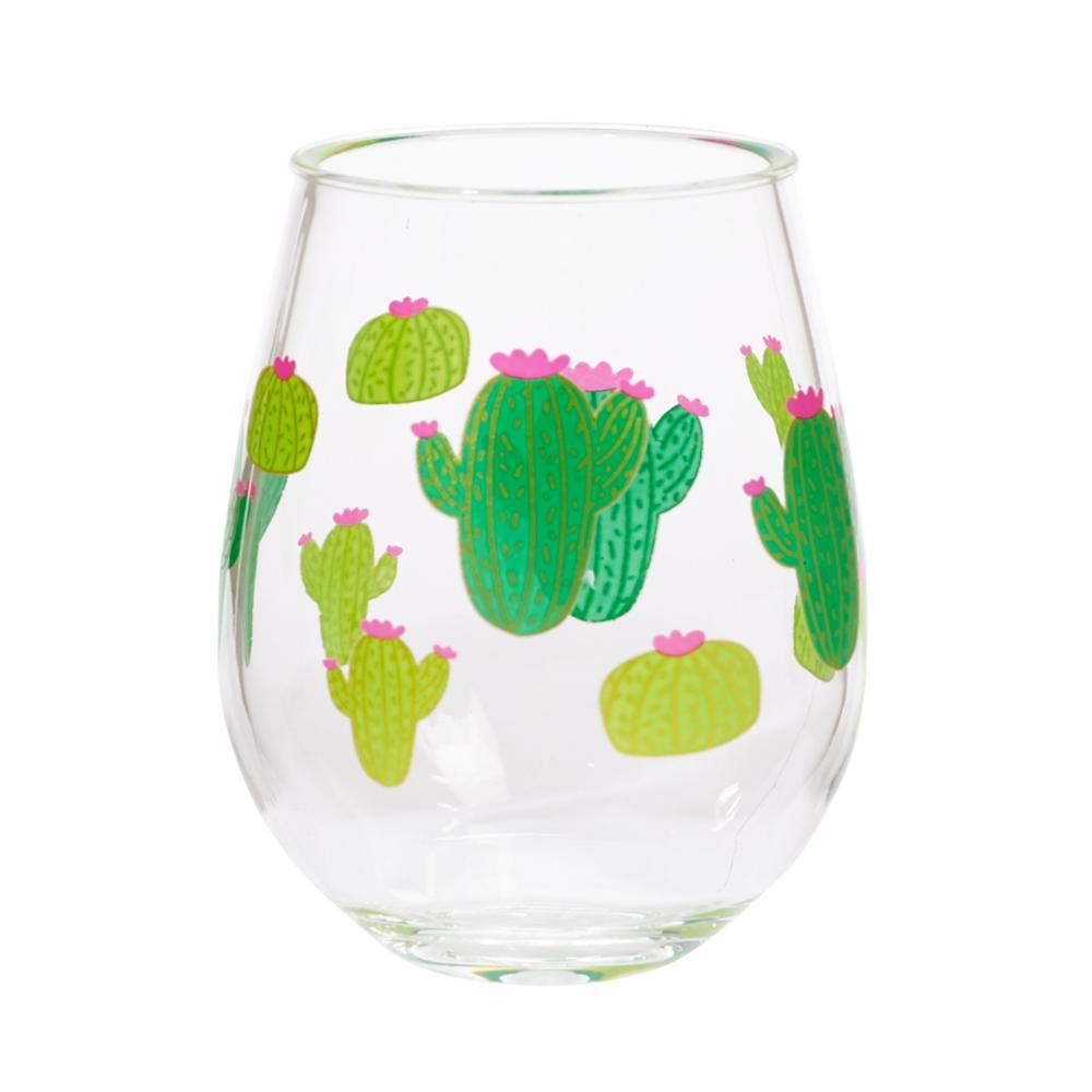 C.R.Gibson Cactus Double Stemless Wine Glass Set