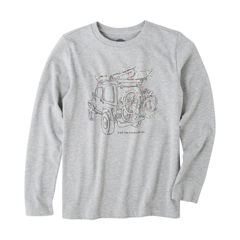 Life is Good Boys Holiday Off Road Long Sleeve Crusher Tee HTHRGRAY