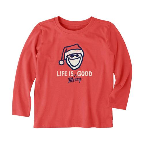 Life is Good Toddlers Life Is Merry Long Sleeve Crusher Tee Red