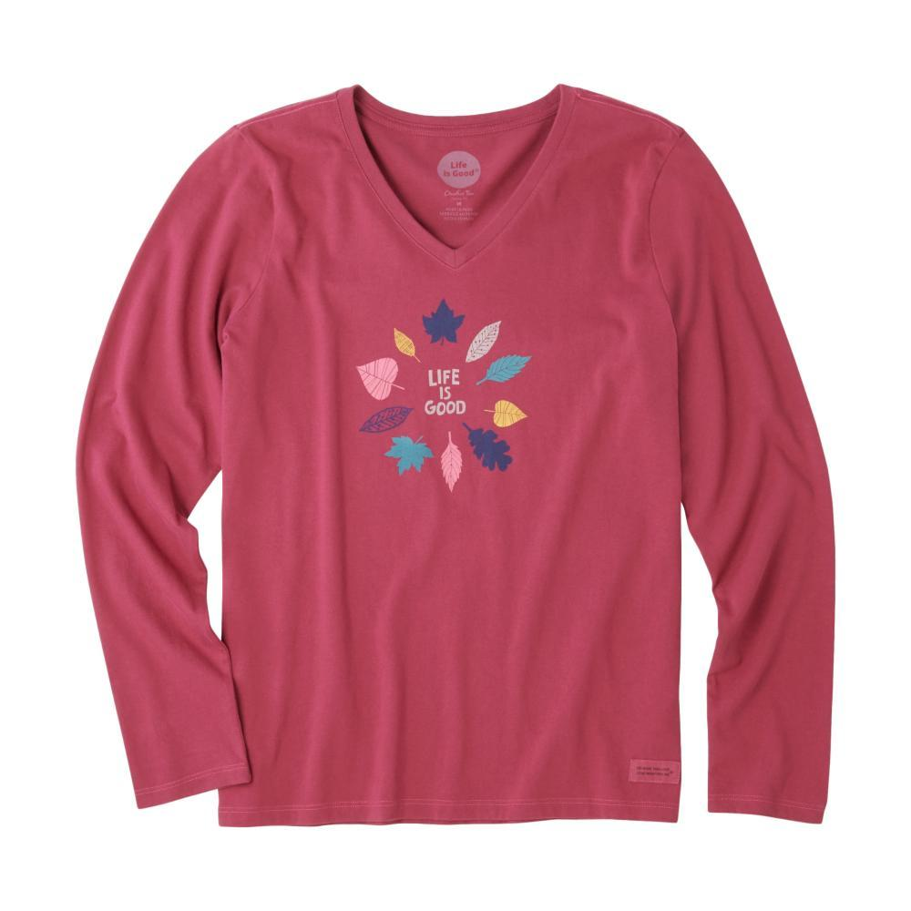 Life is Good Women's Colorful Leaves Long Sleeve Crusher Vee WILDCHERRY