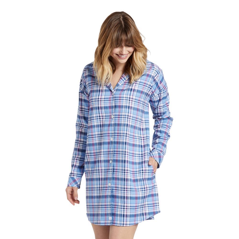Life is Good Women's Sleepy Powder Plaid Button Down Sleep Shirt POWBLUE