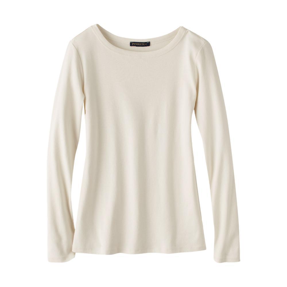 Pendleton Women's Long Sleeve Cotton Ribbed Crewneck Tee ANTQWHITE_73426