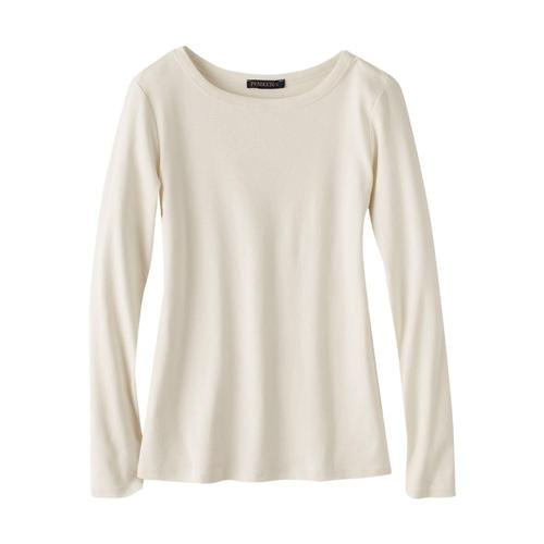 Pendleton Women's Long Sleeve Cotton Ribbed Crewneck Tee Antqwhite_73426