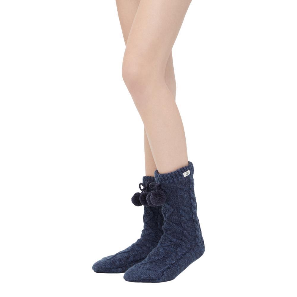 UGG Women's Pom Pom Fleece Lined Crew Socks NAVY