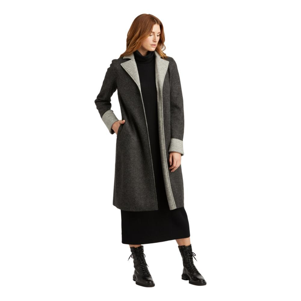 Indigenous Designs Women's Double Faced Boiled Wool Coat CHAR/SILVER