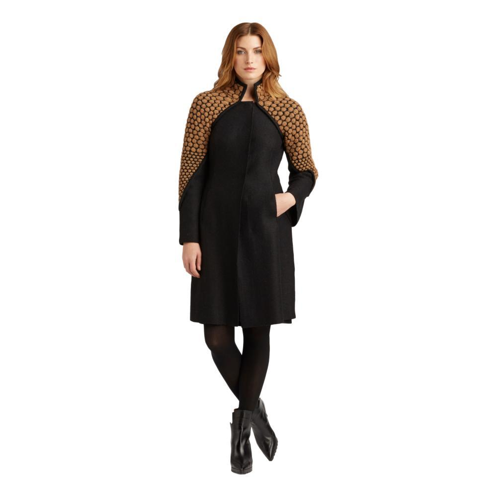 Indigenous Designs Women's Knit and Boiled Wool Coat BLACK/CAMEL