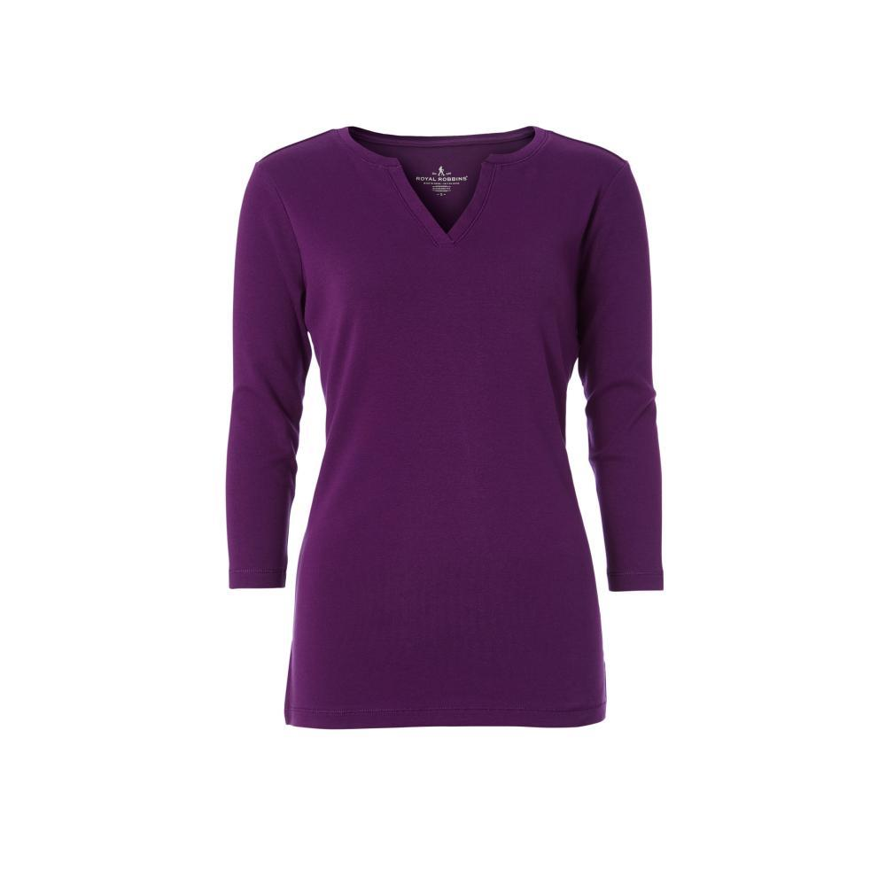 Royal Robbins Women's Kickback Split Henley Shirt GRAPEROYALE