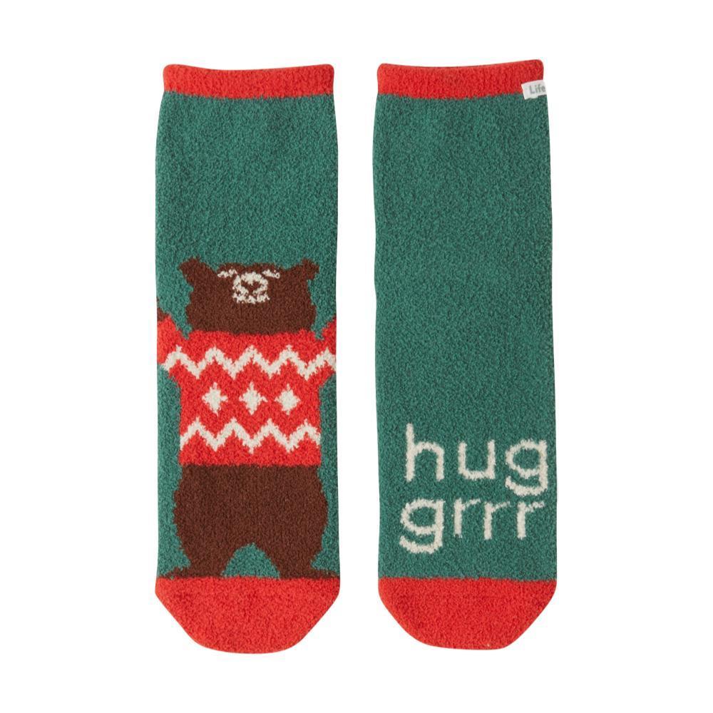 Life is Good Women's Hug Grrr Plush Snuggle Crew Socks FORESTGREEN