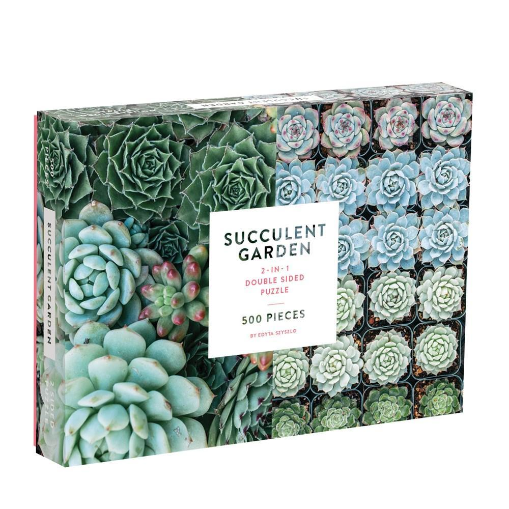 Chronicle Books Succulent Garden 2- Sided 500- Piece Puzzle