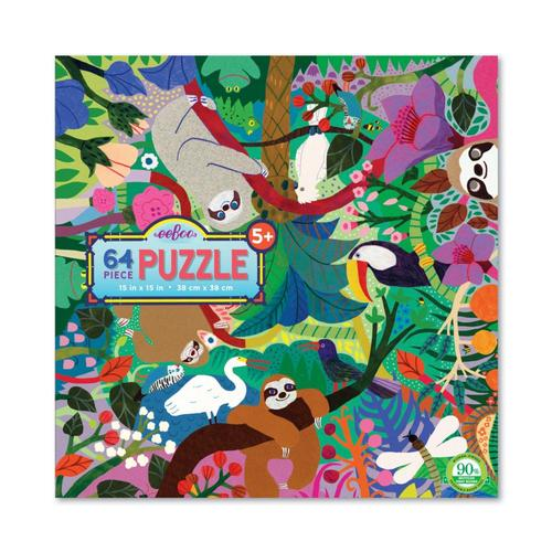 eeBoo Sloths at Play 64-Piece Jigsaw Puzzle